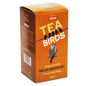 Image: Welsh Tea Birds -15 Welsh Breakfast Pyramid Bags